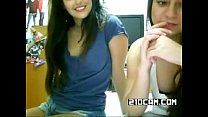 Two teen babes showing off tits on cam - More @... thumb