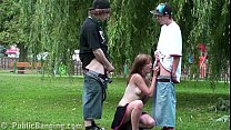 Beautiful teen Alexis Crystal PUBLIC threesome on the street with guys big dick
