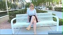 Hot blonde teen Alyssa flash her big natural boobs in a restaurant