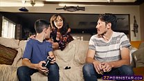 Awesome MILF helps out a gamer guy who has a hu... Thumbnail
