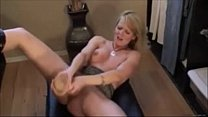 Horny Milf Squirting With a Huge Dildo