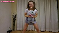 Pantyless/Braless Upskirt Workout with Teddy Bear