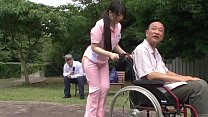 Subtitled bizarre Japanese half naked caregiver outdoors video
