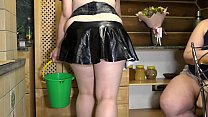 Lesbian with a huge strapon fucked a fat maid. ...