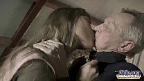 Very Old Man Fucks Very Young Girl And Cums On Her Tongue After Pussy Sex