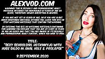 Sexy Schoolgirl Hotkinkyjo With Huge Dildo In A