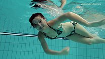 Shaved tight hottie Markova in the Czech pool porn image