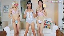 Three cam girls sharing on big hard cock