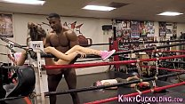 7734 Domina cuckolds in boxing gym for cum preview