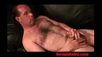 Straight Daddy Bear Stokes his hairy cock- RoughHairy.com