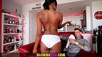 Blow Me POV - Petite Ebony Babe Makes Sloppy Interracial BJ