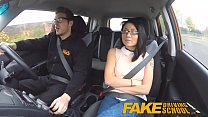 Fake Driving School Wild Ride For Petite British Asian With Glasses