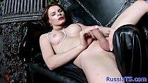 Heeled russian tgirl strips and jerksoff