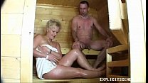 Milf fucking in the sauna ends with creampie