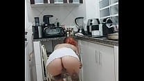Naughty Rachell Miranda cleaning the kitchen without panties