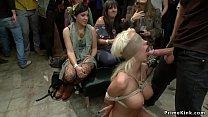 Busty blonde is fucked in public gallery