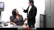 Plump ebony secretary rides her boss cock