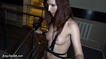 Jeny Smith caught by angry guard while she trying to spend the night in a shop naked!