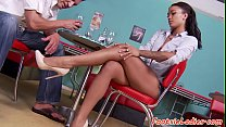 Foot loving ebony babe jizzed on feet
