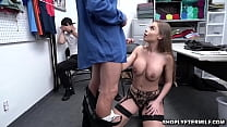 OMG! This is so embarassing! Britney Amber and her son are caught shoplyfting and the son must watch his mom give the LP officer a blowjob!
