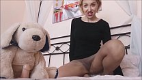 my little dog has to be in heat ... I jerk it off with my stockings porn image