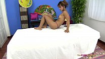 Asian body with shaved pussy receives oil massage - 9Club.Top