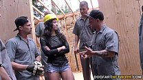 Teanna Trump gets gangbanged on a construction site's Thumb