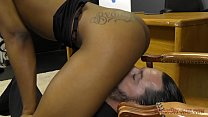 Ebony Secretary Makes Her Boss Lick Her Asshole - Femdom preview image