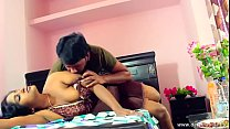 desimasala.co - Beautiful aunty boob press navel kiss romance with young guy