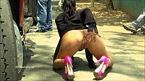 Chubby latina babe Beatriz flashing pussy and public nudity of sexy amateur swee Preview