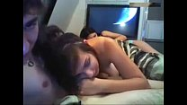 Amateur couple have fun on bed while sister wat...
