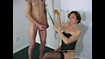 Oldie mistress demands man to masturbate before she sucks his cock preview image