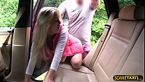 Blondie babe gets her pussy crushed by drivers huge dick