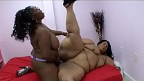 Big booty black MILFs Subrina Love and Farrah Foxx use toys and a strap on to satisfy each other