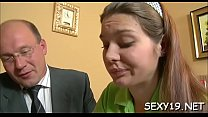 Chick is getting her pussy ravished by teacher on the couch