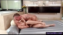 Big tits blonde masseuse fucked by client porn thumbnail