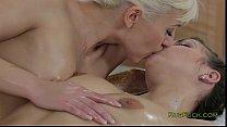 Blonde masseuse gives breasts massage to brunette