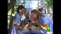 Two sexy nurses come on the rescue of a wounded! thumb