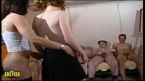 Young womans and old mens fucking in group