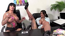 Horny brunettes getting very hot with each other preview image