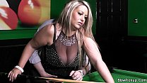 Stranger bangs lovely BBW in nylons on the pool table pornhub video