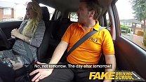 Fake Driving School British cheating blonde loula lou slurps up cumshot
