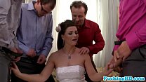 Bukkake loving euro bride sucks five cocks
