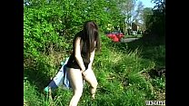 Girlfriends public flashing and amateur voyeur exposing herself outdoors