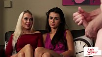 British CFNM duo instructs sub to jerkoff