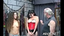Rough spanking and harsh servitude on woman's pussy