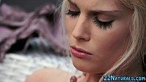 Blonde in lingerie rubs