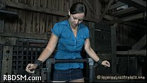 Gagged hottie receives lusty torturing