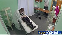 Gorgeous blonde Uma gets fucked hard by the doctor in the examining table porn image