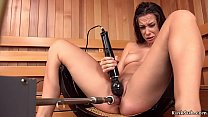 Brunette squirting on fucking machine in spa porn thumbnail